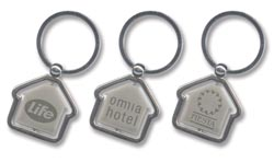 Spining House Key Ring Resin Dome Branding All